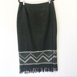 Wool Chevron Fringed Gray Midi Wrap Skirt